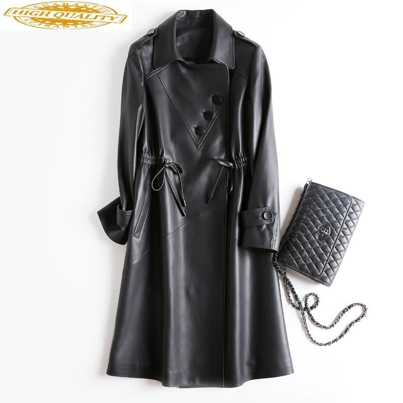 Women's Fur Coat Spring Tops Korean Elegant Sheepskin Coats Real Genuine Leather Jacket Women Clothes 2020 Trench Coat ZT2277