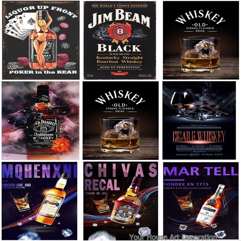mefoll Retro Wall Decor Tandem Whiskey Metal Tin Wall Plaque 8x12 Bar Pub Sign by
