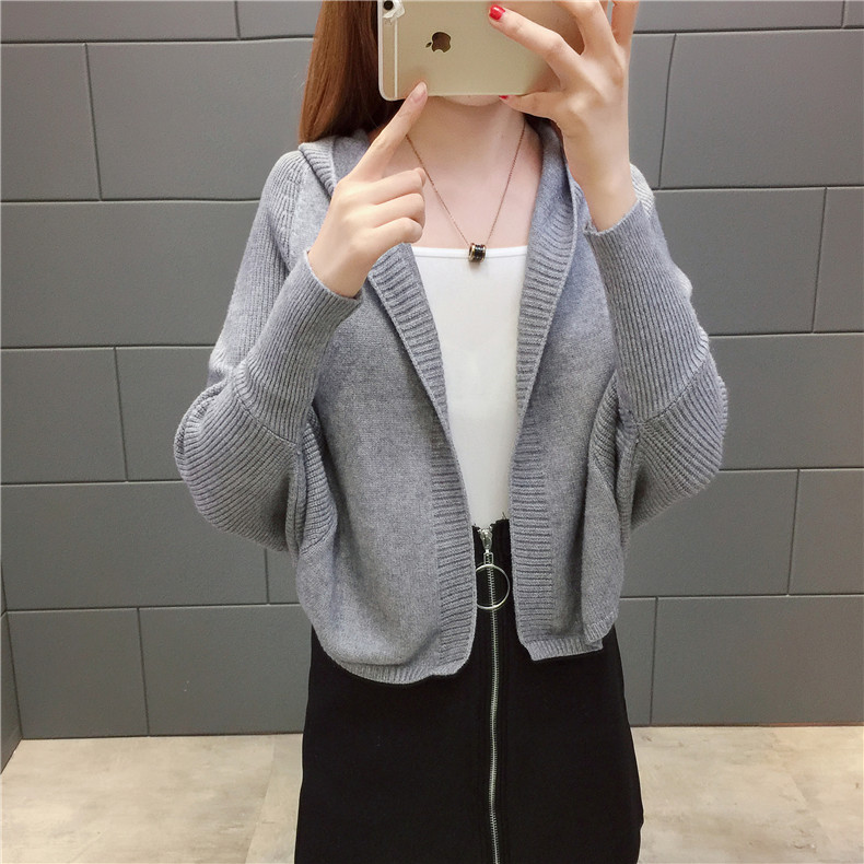 2019 Free send New style Korean loose and comfortable Autumn women Cardigan Sleeve of bat Hooded Sweater coat 126