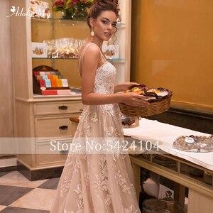 Image 4 - Adoly メイゴージャスなアップリケ裁判所の列車 A ラインのウェディングドレス 2020 ラグジュアリースパゲッティストラップビーズ王女花嫁衣装プラスサイズ