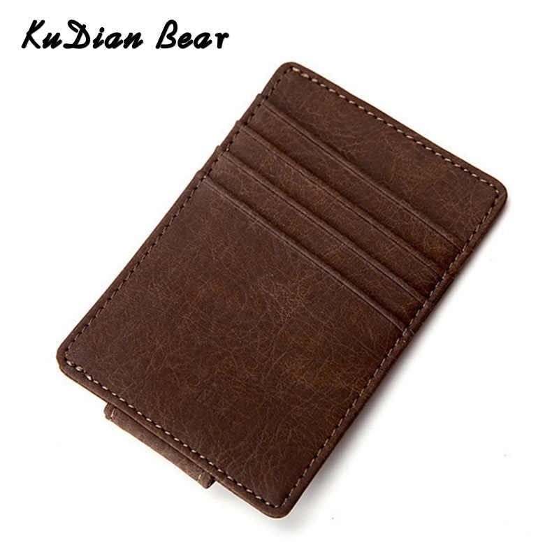 KUDIAN искусственная кожа медведя, Мужской Магнитный зажим для денег, короткий тонкий кошелек, Винтажный чехол для карт, наличные, карманный зажим, маленький кошелек BID215 PM49