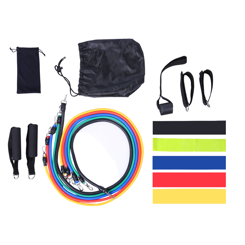 17Pcs/Set Latex Resistance Bands Gym Door Anchor Ankle Straps With Bag Kit Set Yoga Exercise Fitness Band Rubber Loop Tube Bands