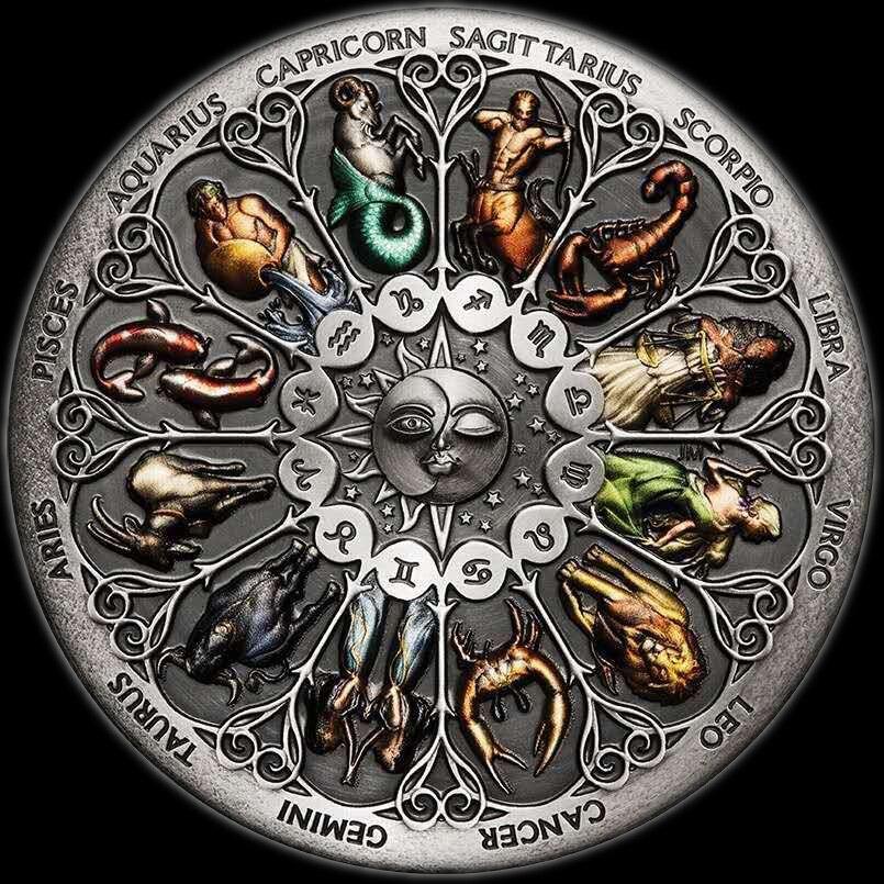 Super bonito doze constellation zodiac prata moedas comemorativas sorte amor elizabeth ii euro astrologia lembrança presentes