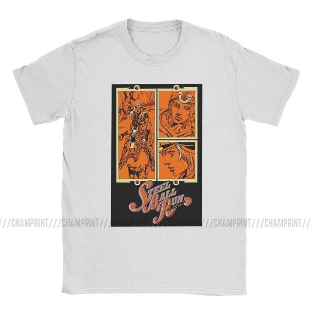 SBR Steel Ball Run Volume 15 Cover T-Shirt Men Jojos Bizarre Adventure Anime Jjba Manga Awesome Tee Shirt Crew Neck T Shirt 4
