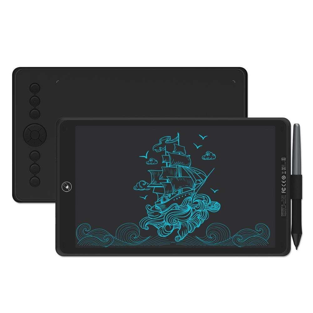 H320M 2 Em 1 HUION Tablet Gráfico Desenho Tablet Caneta Digital 8192 Níveis e Escrita LCD Tablet + Bateria- stylus grátis para PC/Telefone