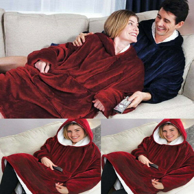 Women Men Red Blue Fleece Hooded Blanket Sleepwear With Pocket Casual Holiday Robes Suit