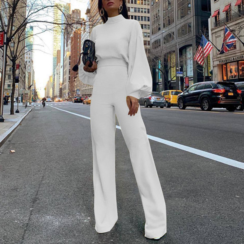 Elegant Long Sleeve Wide Leg Patns Jumpsuit For Women 2019 Solid Color Rompers Womens Jumpsuit Autumn 2019 Overalls