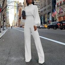 Elegant Long Sleeve Wide Leg Patns Jumpsuit for Women 2019 Solid Color Rompers W