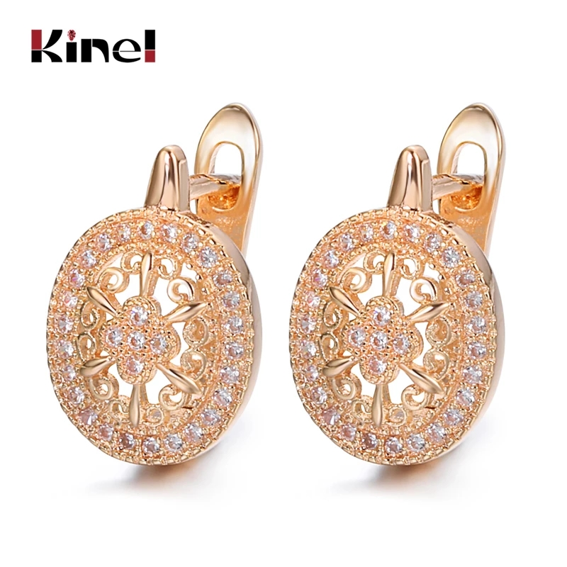 Kinel Luxury Wedding Zircon Stud Earrings Hollow Flowers Oval Earrings Beautiful For Women 585 Rose Gold Engagement Jewelry
