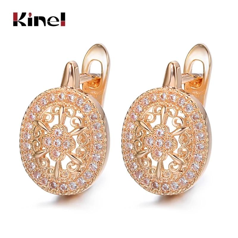 Kinel Luxury Wedding Zircon Stud Earrings Hollow Flowers Oval Earrings Beautiful For Women 585 Rose Gold Engagement Jewelry