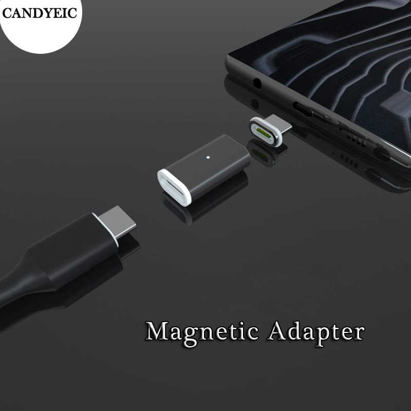 CANDYEIC อะแดปเตอร์แม่เหล็กสำหรับ iPhone 11 PRO MAX XR XS Android Type C Micro USB 2.0 Fast Charger Charger ADAPTER