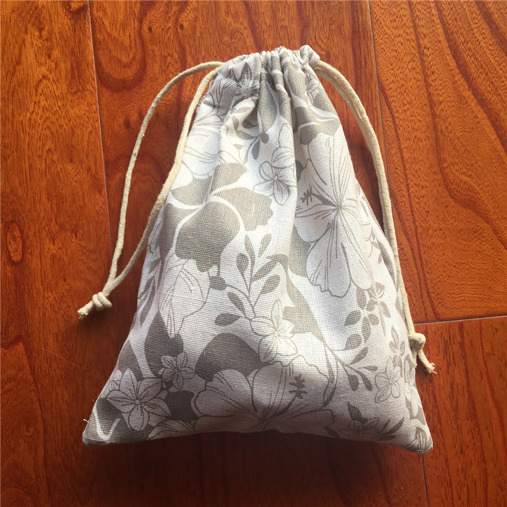 Cotton Linen Drawstring Eco Multi-purpose Bag Sorted Bag Party Gift Bag Khaki Flower YL24a