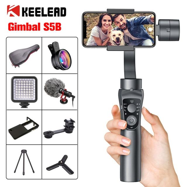 KEELEAD Gimbal Ổn Định S5B 3 Trục Bluetooth Cầm Tay Với Tập Trung Kéo AndZoom Cho Điện Thoại Xs Xr X 8 Plus 7 Camera Hành Động