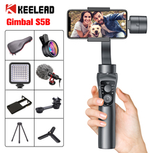 KEELEAD مثبت أفقي S5B 3 Axis بلوتوث محمول باليد مع التركيز سحب وتكبير للهاتف Xs Xr X 8 Plus 7 عمل الكاميرا