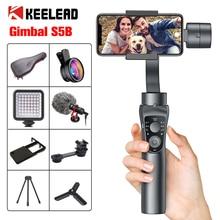 KEELEAD stabilizator Gimbal S5B 3 Axis bluetooth ręczny z naciskiem Pull andZoom do telefonu Xs Xr X 8 Plus 7 kamera akcji