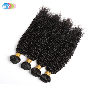 Image 1 - BY Malaysian Kinky Curly Hair Bundles Remy Human Hair Extensions Natural Color Buy 1/3/4 Bundles Thick Kinky Curly Bundles Black