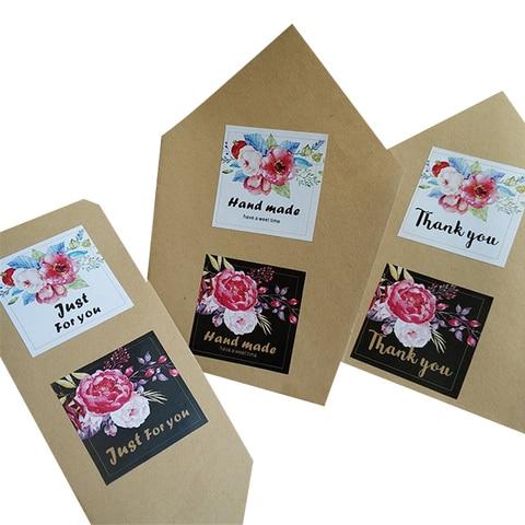 1200 pcs lote flor quadrado obrigado apenas para voce selo da etiqueta adesiva diy pacote