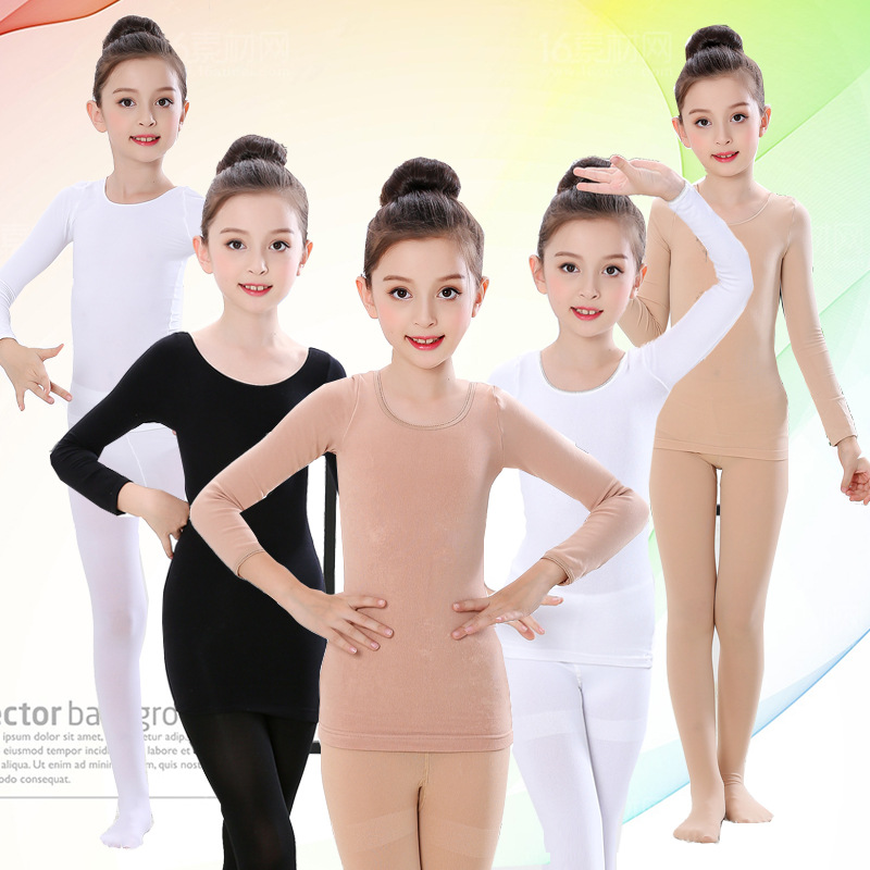 Children Dance Base Shirt Autumn And Winter Girls Plus Velvet Fleshcolor Invisible Underwear Flesh Color Thermal Clothes Tights