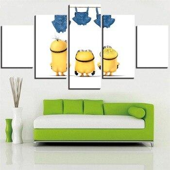 5 piezas de colillas y vaqueros minion amarillos y pintura en lienzo de dibujos animados... pósteres de películas... bonitos fondos de