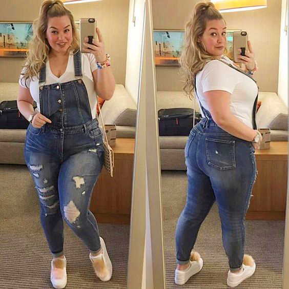 Fashion New Women Nine Points High Waist Tight Casual Daily Four Seasons Large Size Jeans Bib Pants Ankle-length Overalls