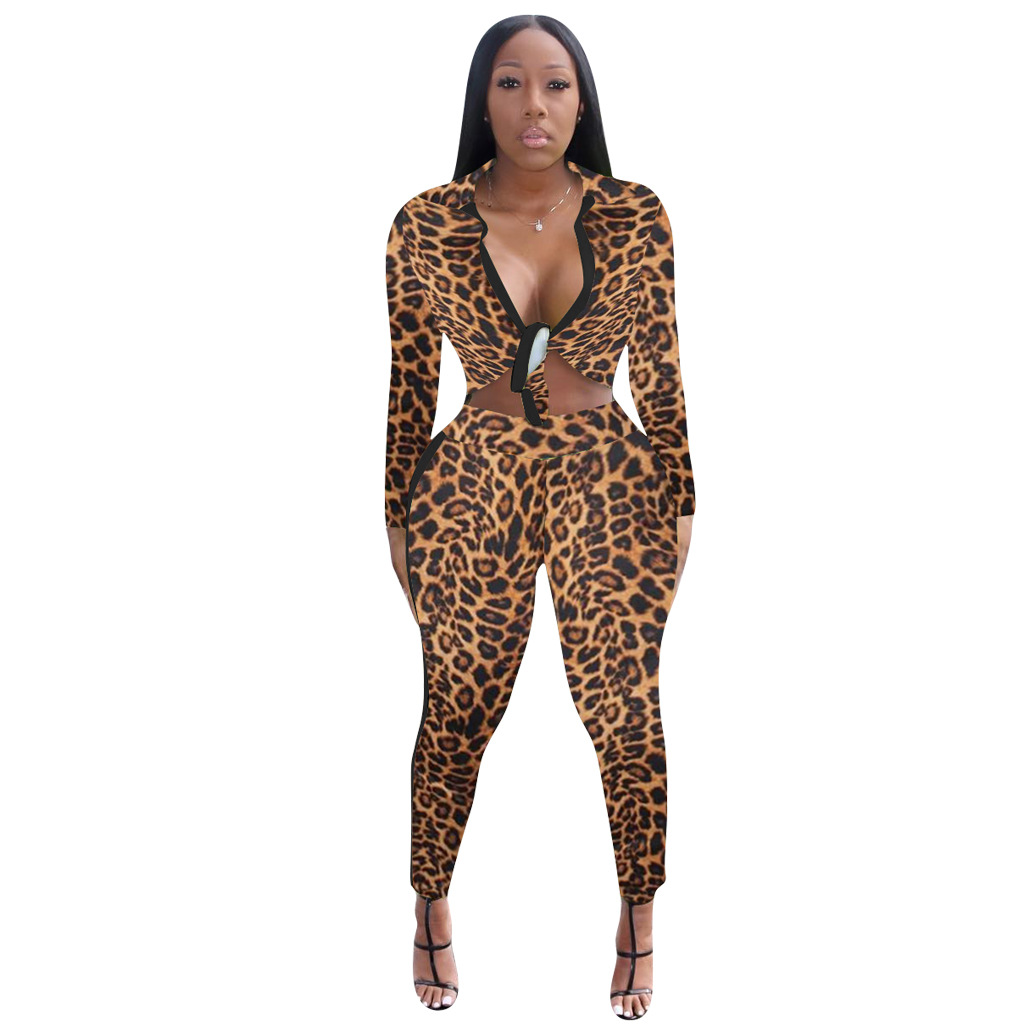 HAOYUAN Neon Leopard Print Women Two Piece Outfits Crop Tops And Pants  Fall Festival Clothing Sexy Club 2 Piece Matching Sets