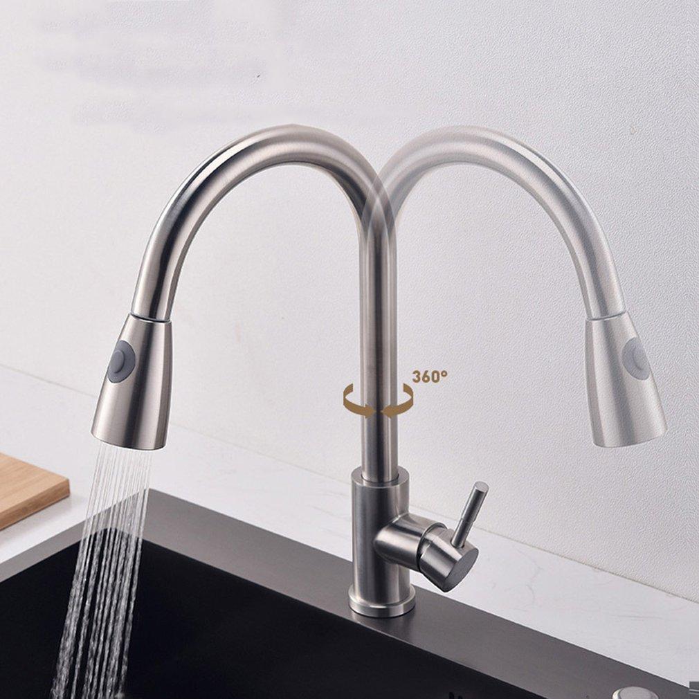 para cocina color plateado Extensor de grifo de acero inoxidable flexible de 360 grados