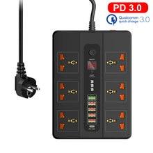 Smart 24 horas temporizador de ligar/desligar tipo-c pd 18w qc3.0 power strip 6ac tomadas universais 5 portas usb carregador 2m tomada de extensão