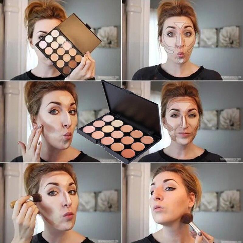 15 cores maquiagem corretivo à prova dwaterproof água corretivo paleta compõem rosto contorno bronzer fundação creme maquiagem facial corrector