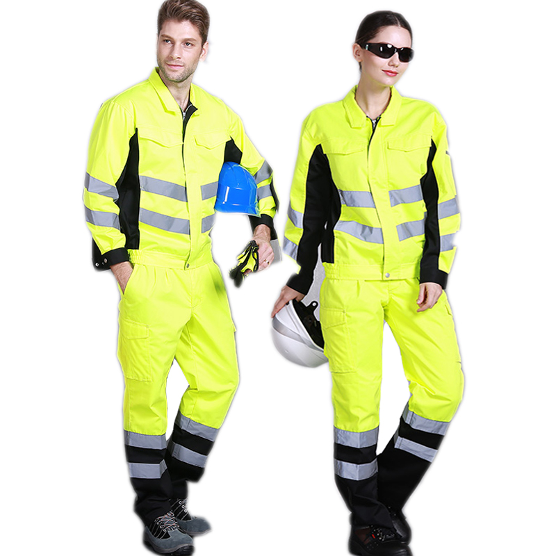 Fashion Men Women Long Sleeve Work Clothes Set Reflective Yellow Safety Coverall Railway Anti-static Factory Engineering Uniform
