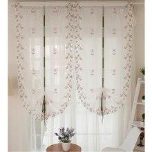 Topfinel Novelties Tul para ventanas Persianas romanas Cortinas de velo bordadas para la cocina Dormitorio Tul para sala de estar con patrón vegetal y mariposas
