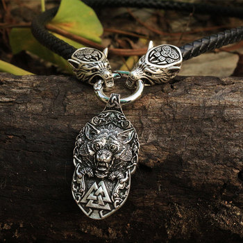 Collier homme viking tête de loup avec marteau de thor mjolnir  2