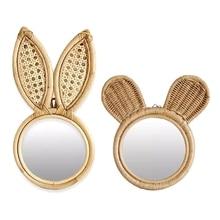 Makeup Mirror Art-Decoration Wall-Hanging-Mirrors Rattan Bedroom Rabbit-Ears Dressing