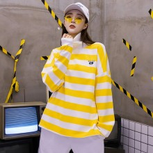 2019 Autumn And Winter New Korean Academy Style Yellow and White Striped Sweatshirt Turtleneck Long Sleeve Pullover Sweatshirt cut and sew striped knot sweatshirt