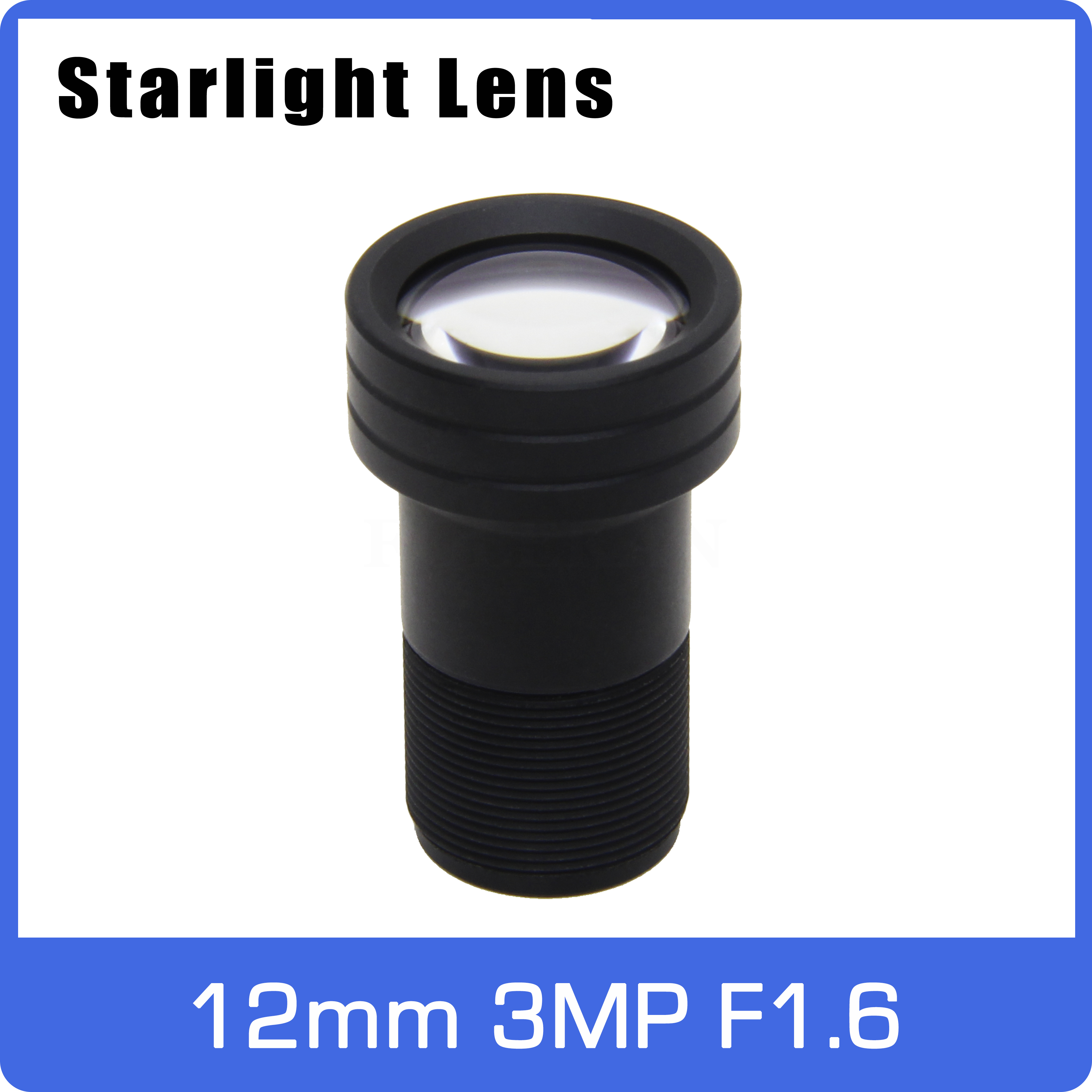 Starlight Lens 3MP 12mm Fixed Aperture F1.6 Big Angle For SONY IMX290/291/307/327 Low Light CCTV AHD IP Camera Free Shipping