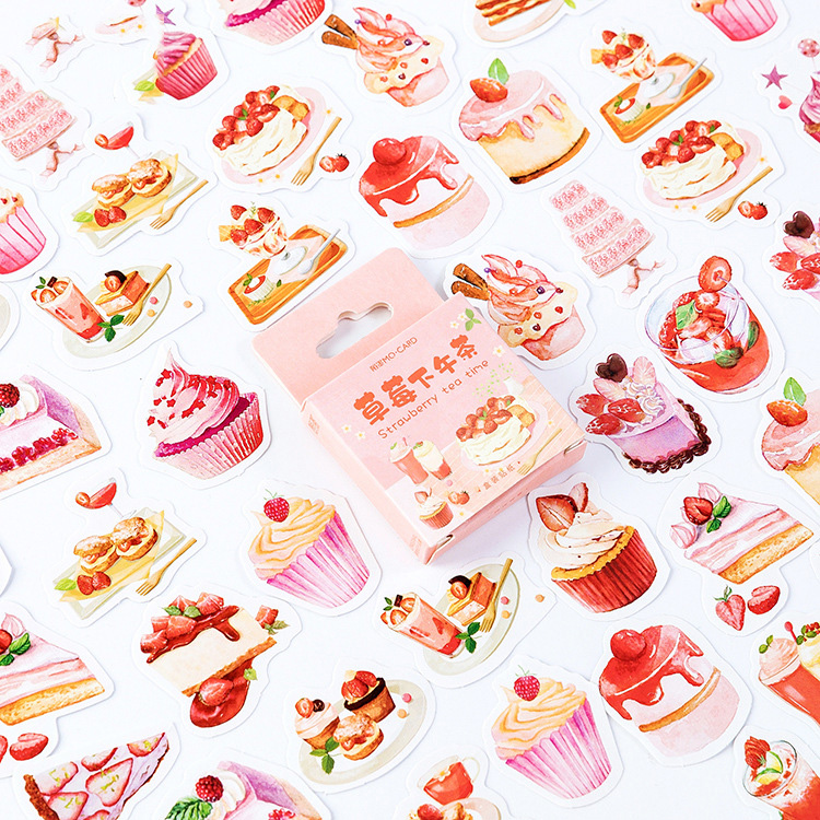 Mohamm Strawberry Afternoon Tea Series Cute Paper Decoration Stickers Scrapbooking Stationery Planner Office Supplies Stationery