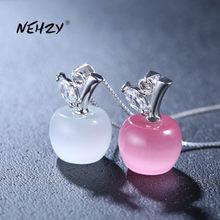NEHZY – collier en argent Sterling 925 pour femme, pendentif en opale rose de haute qualité en forme de pomme, longueur 45CM, nouvelle collection