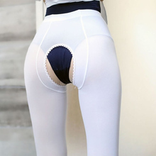 Plus Size SEXY Women High Waist Crotchless Elastic Tights Anti Hook Open Crotch Hollow