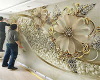 beibehang Interior classic wall paper luxury gold 3D stereo European pattern jewelry TV background papel de parede 3d wallpaper