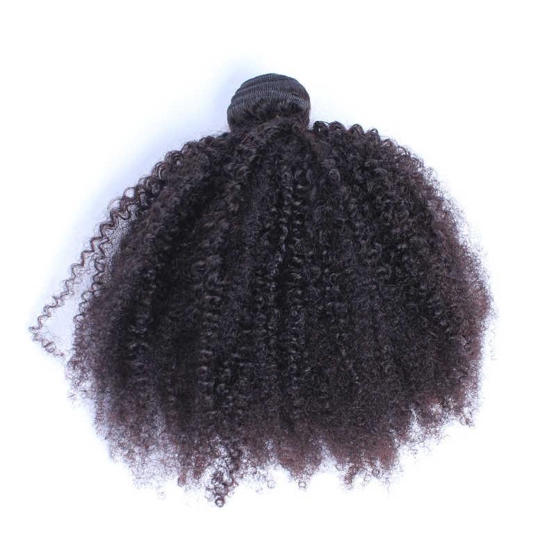 Mongolia Afro Kinky Curly Bundel Rambut Manusia Bundel dengan Penutupan 100% Rambut Manusia Menenun Ekstensi 4B 4C Rambut Everbeauty