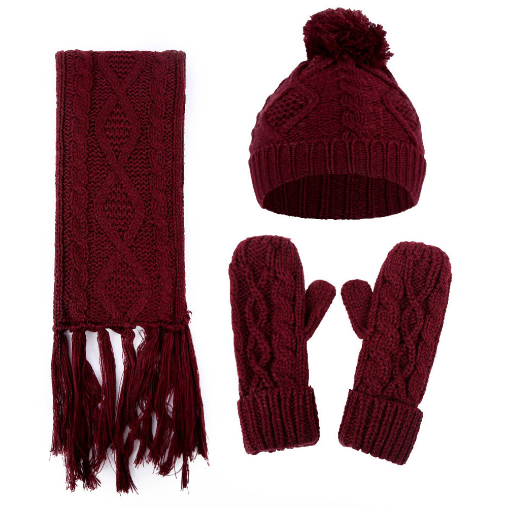 Warm Hat Casual Windproof Knitted Scarf AND Gloves Set Winter Artificial Woolen