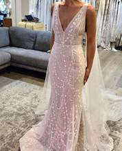 V Neck Mermaid Wedding Dresses Long Boho Weeding Dress Elegant Wedding Gowns Bride Dress Vestido De Noiva HA168(China)
