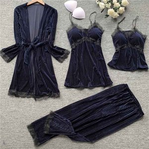 Image 3 - Gold velvet 4 pieces pajamas women sleepwear warm winter pajamas sets sexy lace robe loungewear with chest pad home service