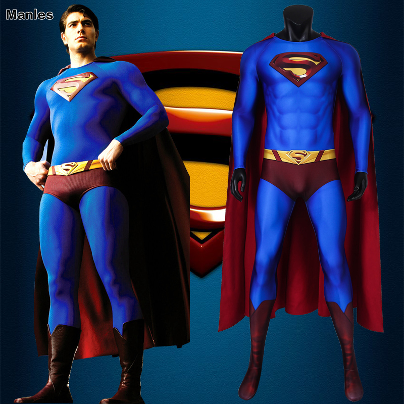 Superman Returns Superman Cosplay Costume Man Of Steel Superhero Halloween Cloak Men Jumpsuit Spandex Avengers Custom Made