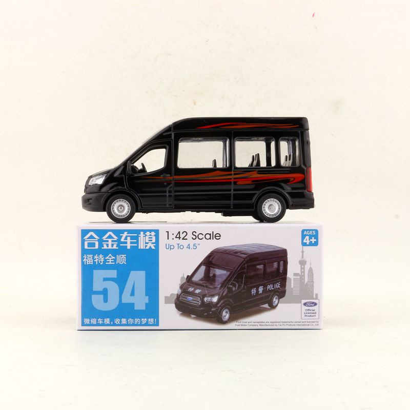 CAIPO 1:52 Scale Ford Transit China police MPV Alloy Pull-back car Diecast Metal Model Car For Collection Friend Children Gift