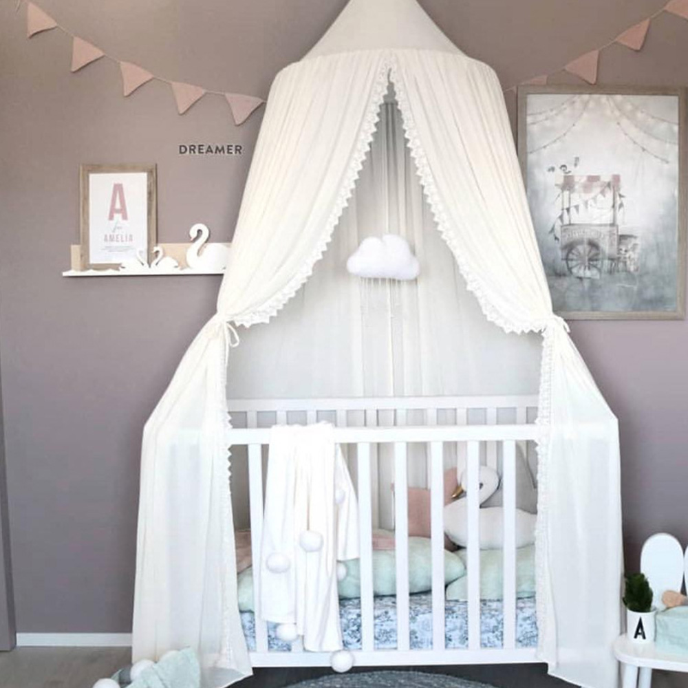 Chiffon Baby Room Mosquito Round Crib Netting Tent Baldachin 240cm Decoration Bedroom Girl Canopy Cot Net Kid Bed Curtain Canopy