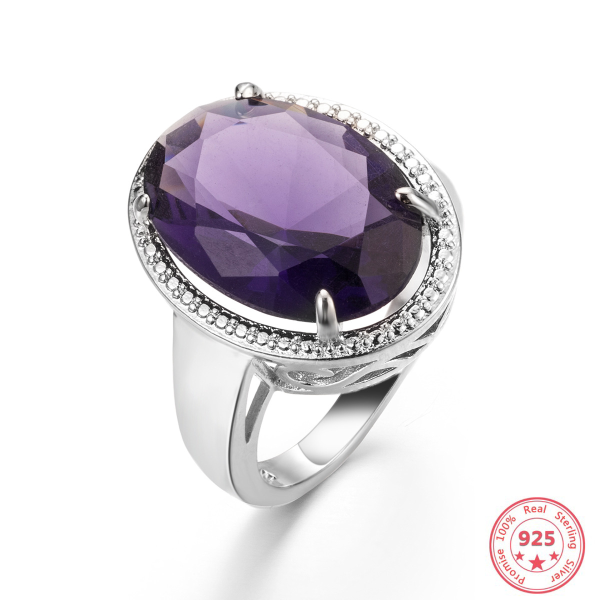 925 Silver Color Natural Amethyst Ring for Women Peridot Bizuteria Anillos Purple Topaz Natural Gemstone 925 Jewelry Rings