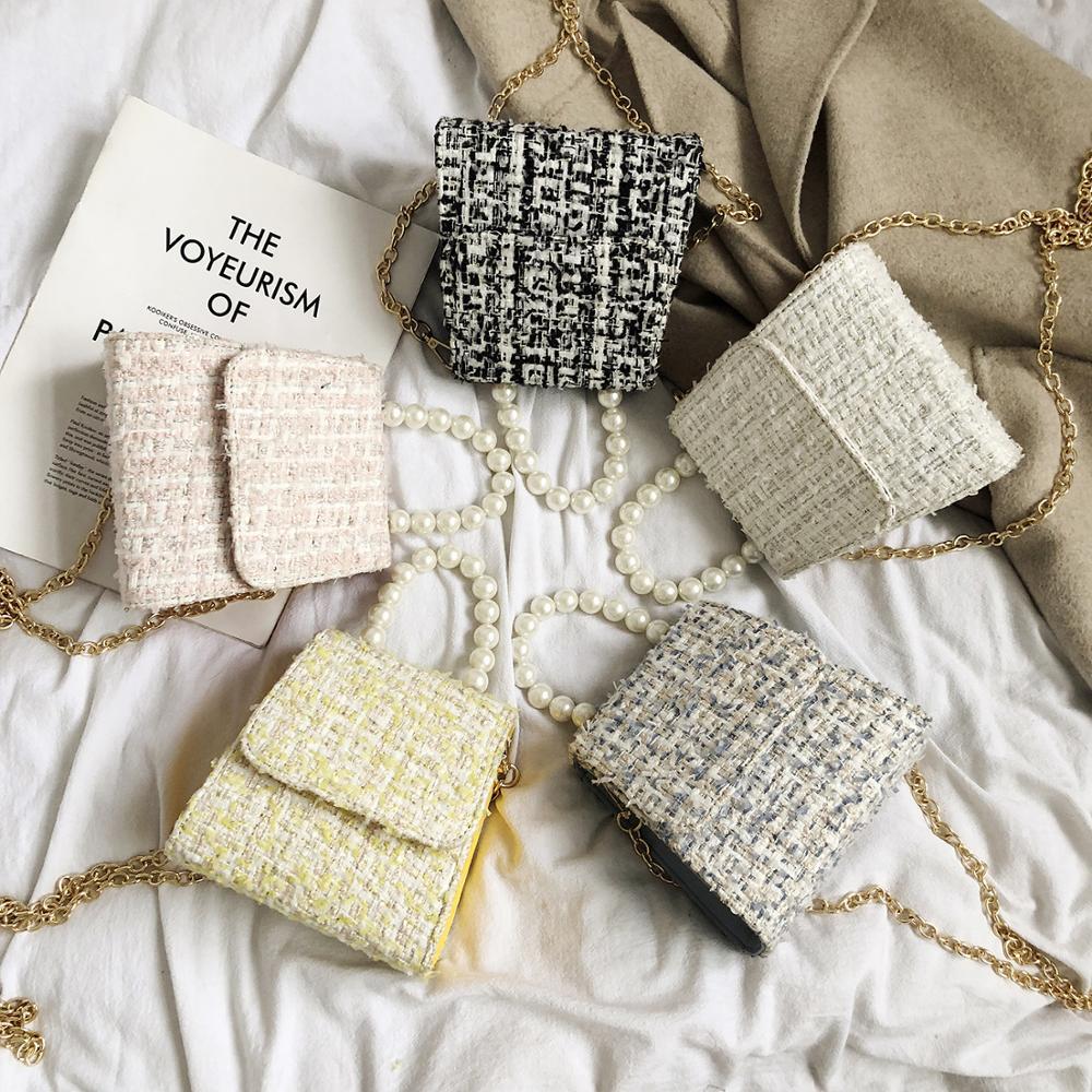Mini Chain Messenger Bag Handbag Soft Woolen Leather Small Crossbody Bag Ladies 2019 New Handbag With Pearl Handle Girl Clutch