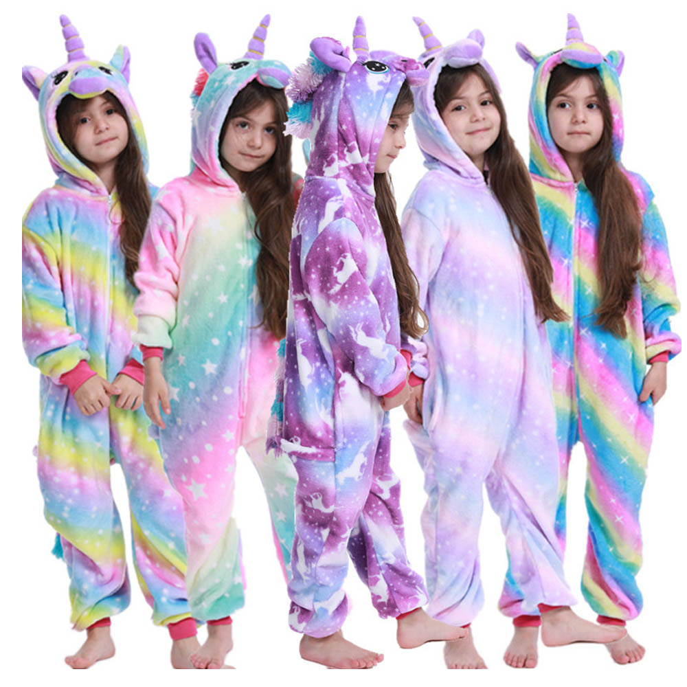 Boys Girls Flannel Warm Pajama Kids Pajamas Kigurumi Cosplay Unicorn Kigurumi Pijamas Kids Clothing Blanket Sleeper For 4-12Yrs