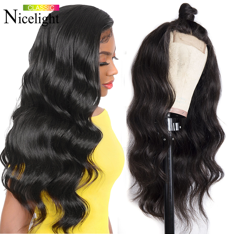 Nicelight Hair 4x4 Body Wave Lace Closure Wig 150% Density Human Hair Lace Wigs Brazilian Remy Wig Natural Color Hair Lace Wig