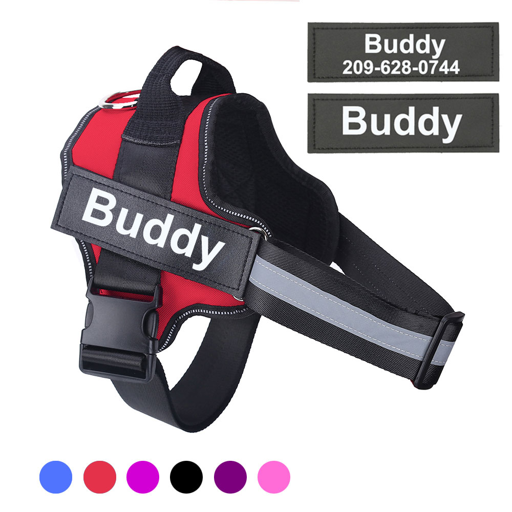 Dog Harness Reflective Breathable Adjustable Pet Harness For Dog Vest ID Custom Patch Outdoor Walking Dog Supplies